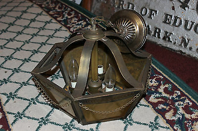 Vintage Fredrick Ramond Arts & Crafts Chandelier-6 Sided Light Ceiling Fixture