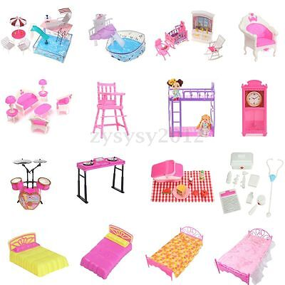Bathroom/Bedroom/Garden/Kitchen/ Furniture Play Set for Barbie Dolls House