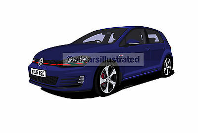Vw Golf Gti Mk7 5 Door Graphic Car Art Print Picture (Size A4). Personalise It!
