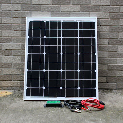 50w PV Solar Panel with 10A PWM Charger Controller for 12v Battery Caravan Boat