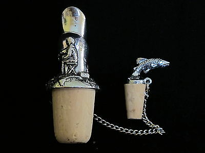 Fisherman Wine Pourer Pewter - Angling Fishing - Ideal Gift - Keeps Wine Fresh