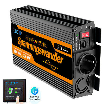 Power Inverter 12V 220V Onda Sinusoidale Pura(Pure Sine)1000 2000W Softstart