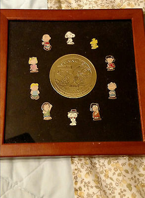 Peanuts 50 Celebration Pin Set! Serial #04231! Mint & Framed! Free Shipping!