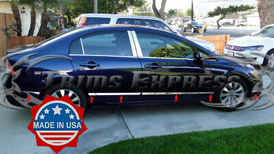 06-11 Honda Civic Sedan 4Dr Flat Stainless Steel Body Side Molding Trim Door