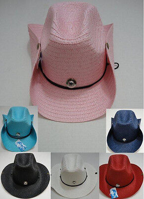 Bulk 120pc Colored Straw Cowboy Cowgirl Western Hat w Chin Straps + Snaps