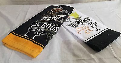 """NEW 2pc SET HALLOWEEN KITCHEN DISH HAND TOWEL """"HERE FOR THE BOOS"""" SPIRITS GHOSTS"""