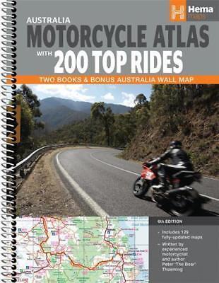 NEW Australia Motorcycle Atlas with 200 Top Rides By Hema Maps Spiral Ringed Boo