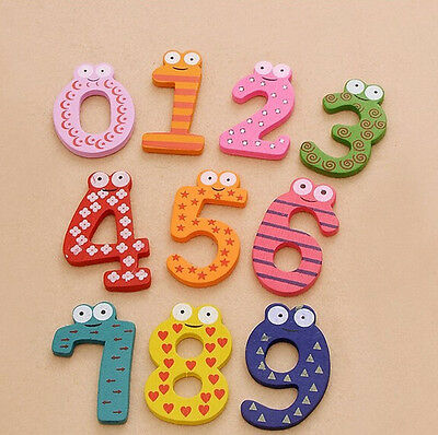 Kids Children Wooden Magnetic Fridge Numbers  0-9 Maths Learning Educational Toy