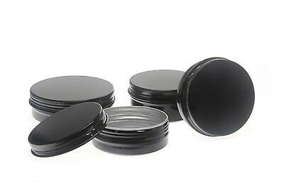 Empty Aluminium Tin Container BLACK Round Jar Screw Lid 10/15/50/60/80/100/150ml