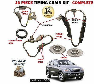 For Kia Sorento 2.5Td Crdi D4Cb 2003-2010 New Timing Chain Kit 16 Piece Complete
