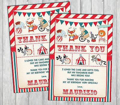 Carnival Thank You Card Vintage Circus First Birthday Invitation Party Supplies
