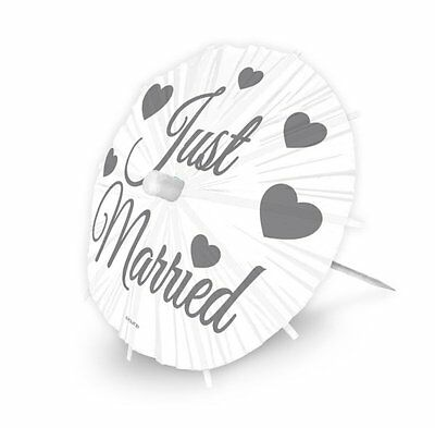 Just Married Parasol Party Picks Cocktail Sticks Pack of 8