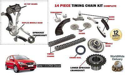For Hyundai Getz 1.5 Crdi D3Ea D4Fa 2003-  New Timing Chain Gears Sprocket Kit