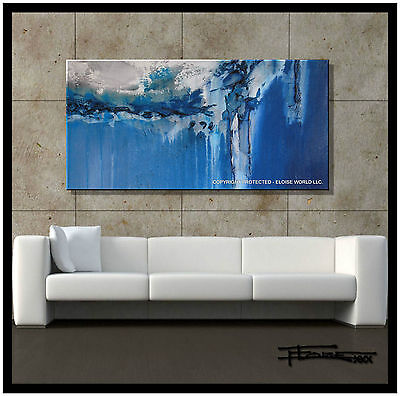 ABSTRACT Painting Canvas Wall Art 48in Large, Signed, Listed by Artist.ELOISExxx