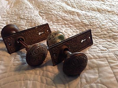 Pair Of Ornate Metal Door Knobs With Back Plates Heart Design
