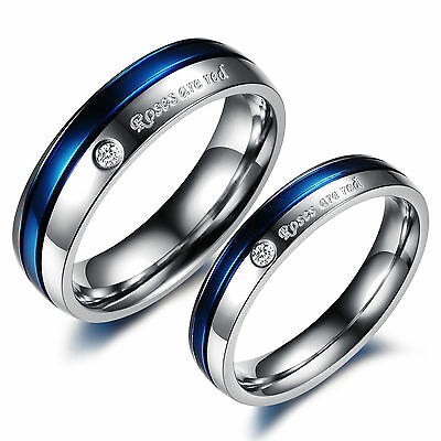 Women Men's 316L Stainless Steel Silver Blue Couple Wedding Ring Bands Sets Free