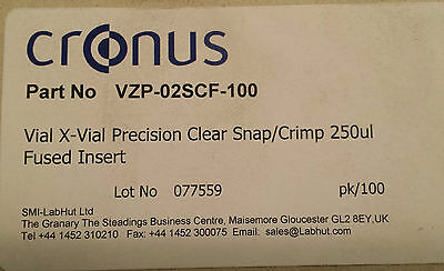 Cronus Snap/Crimp X-Vial Precision 250µl Fused Insert Clear Glass VZP-02SCF-100