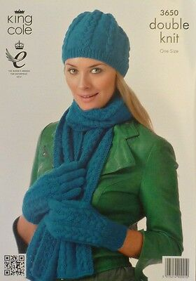 KNITTING PATTERN Ladies Cable Hat, Gloves and Scarf DK King Cole 3650