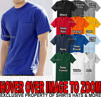 Hanes MENS T-Shirt Preshrunk Cotton with POCKET Tagless Tee S, M, L, XL, 2X, 3X