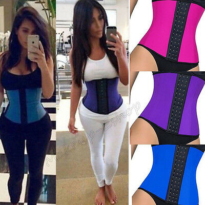 UK 100% Latex Underbust Body Shaper Waist Clincher Corset Training Trainer Belt
