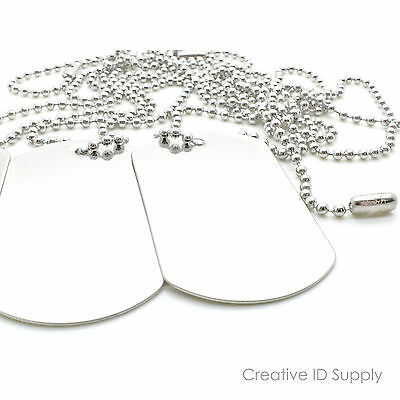 "10pcs BLANK DOG TAG STAINLESS STEEL MILITARY SPEC WITH 10pcs 24"" S/S NECKLACES"