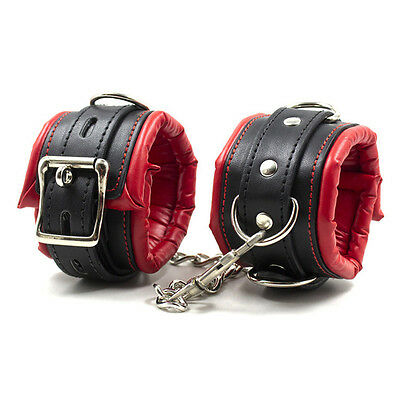 Adult Red Leather Bondage Fetish BDSM Handcuffs Ankle Cuffs Restraints Sex Toys~