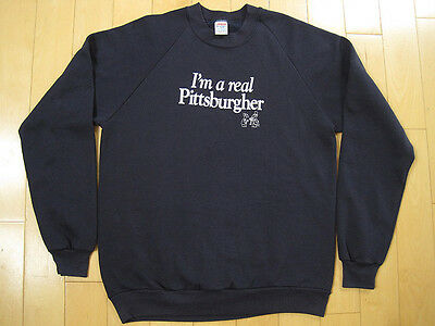 COOL 80s vintage I'M A REAL PITTSBURGHER SWEAT SHIRT pittsburgh MAGAZINE medium