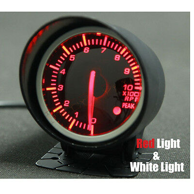 """60mm 2.5"""" Rev Counter Tacho Tachometer Gauge RPM With Black Face Red & White LED"""