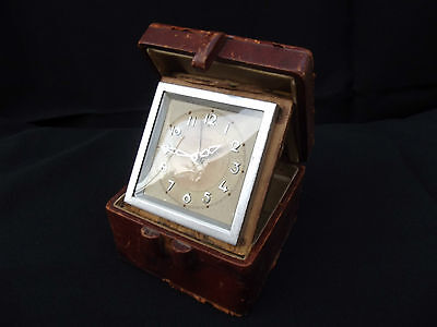 Art Deco Leather Travel Cased Brass Alarm Clock  Bayard