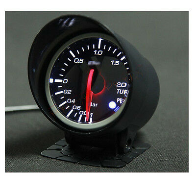 Universal 60mm White & Red LED Light BF Turbo Boost Meter Gauge Black Face Car