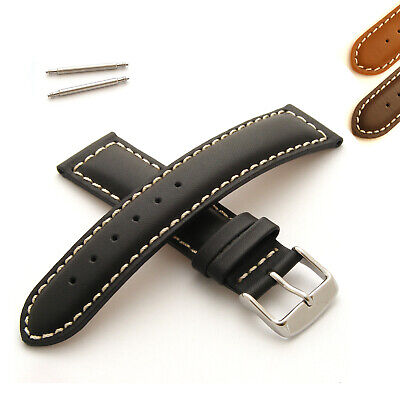 Genuine Leather Watch Strap Band Padded with White Stitching for Mens Wristwatch