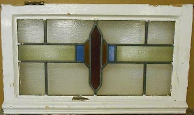 "MID SIZED OLD ENGLISH LEADED STAINED GLASS WINDOW Geometric Band 24.25"" x 14.5"""