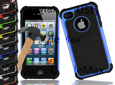 New Hard Shockproof Case Cover for Apple iPhone 4 5 5c 6 6 plus + TEMPERED GLASS