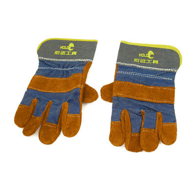 Pair Faux Suede Denim Full Finger Welding Gloves Protector for Electrician
