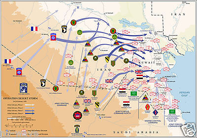 Map of Ground Operations of Operation Desert Storm from February 24-28th 1991