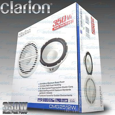 "Clarion Cmg2512W 10"" Subwoofer Outdoor Waterproof Flush Cd Stereo Am Fm Marine"