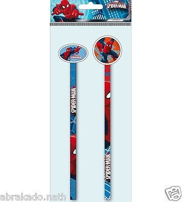2 Crayon A Papier + Gomme Spiderman Papeterie Marvel