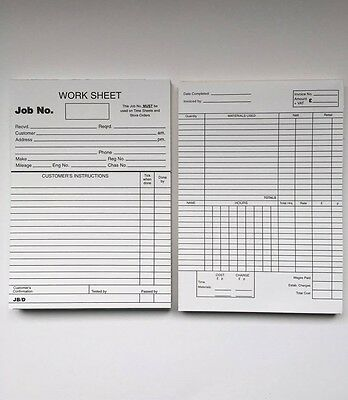 Johns Motorcare Supplies Garage Workshop Repair Work Cards Job Cards Job Sheets