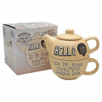 LIONEL RICHIE TEAPOT FOR ONE - Funny Novelty Tea Pot and Cup Set - CREAM