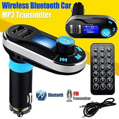 Bluetooth Handsfree Car Kit MP3 FM Transmitter SD Dual USB Charger For Phones UK