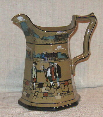 "1909 Buffalo Pottery 7 3/4"" Deldare Pitcher To Spare An Old Broken Soldier"