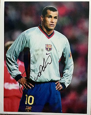 Rivaldo signed 10x8 Barca photo Image E UACC AFTAL registered dealer COA