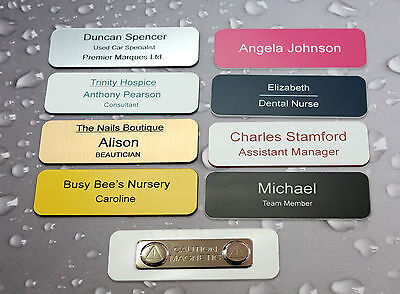 Name Badges - Acrylic Personalised For Work Clubs Events School - Engraved !