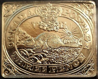 CANADA 2001 3 Pence Brass Beaver Token 150th Anniversary of the first Stamp