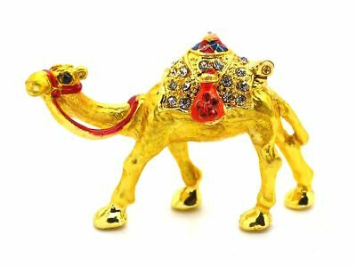 Camel Figurine sculpture hand painted with crystal jewelry trinket box NEW