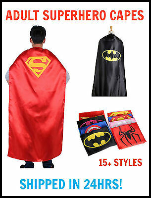 NEW Adult Superhero Satin Cape Super Hero Theme Party Batman Superman Sipderman