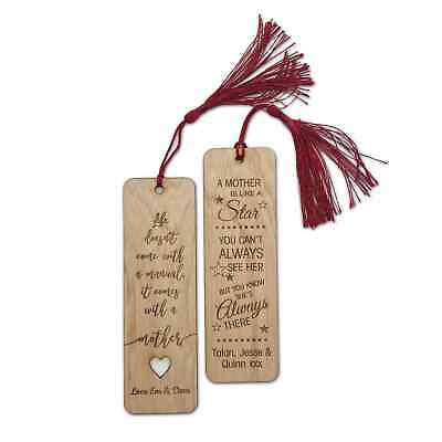 Personalised Engraved Wooden Bookmark Mothers Day Message Birthday Grandma Mum