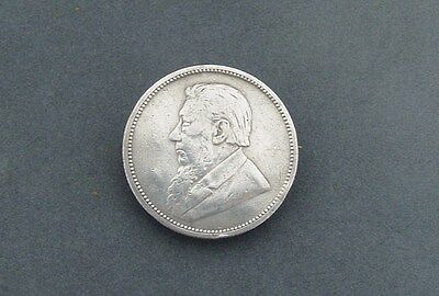 SOUTH AFRICAN SILVER COIN BROOCH 2 SHILLINGS FLORIN c.1890s