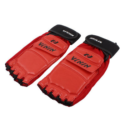 2 Pcs Faux Leather Stretch Taekwondo Foot Protectors Guards Red Black