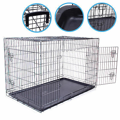 "48"" Extra Large Xl Folding Home Travel Pet Dog Puppy Portable Crate Cage Carrier"